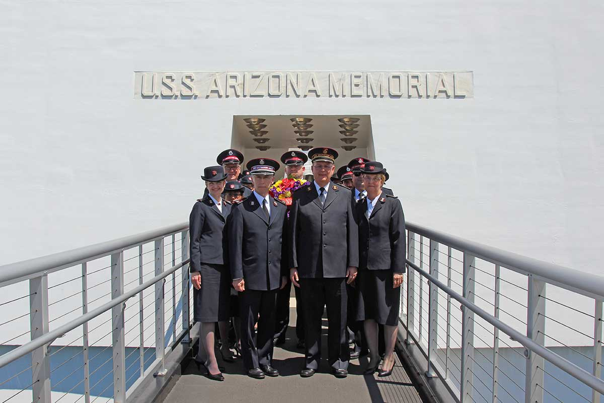 The Salvation Army General General Cox with officers at the USS Missouri