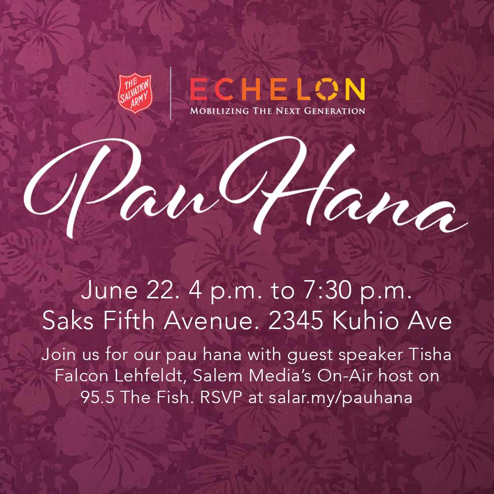 Event information for the June Echelon Pau Hana