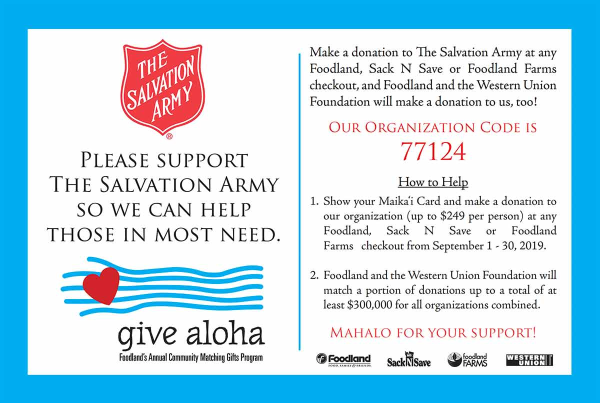 Foodland Give Aloha Salvation Army Postcard