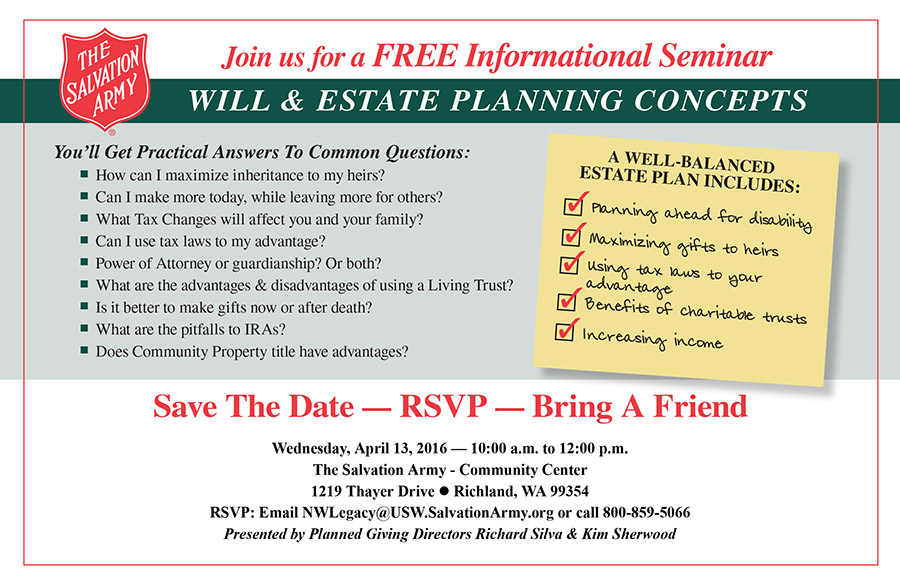 Will & Estate Planning Seminar in Richland, WA - The Salvation Army - April 2016