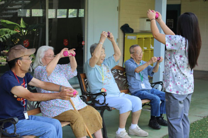 seniors exercising at adult day health services