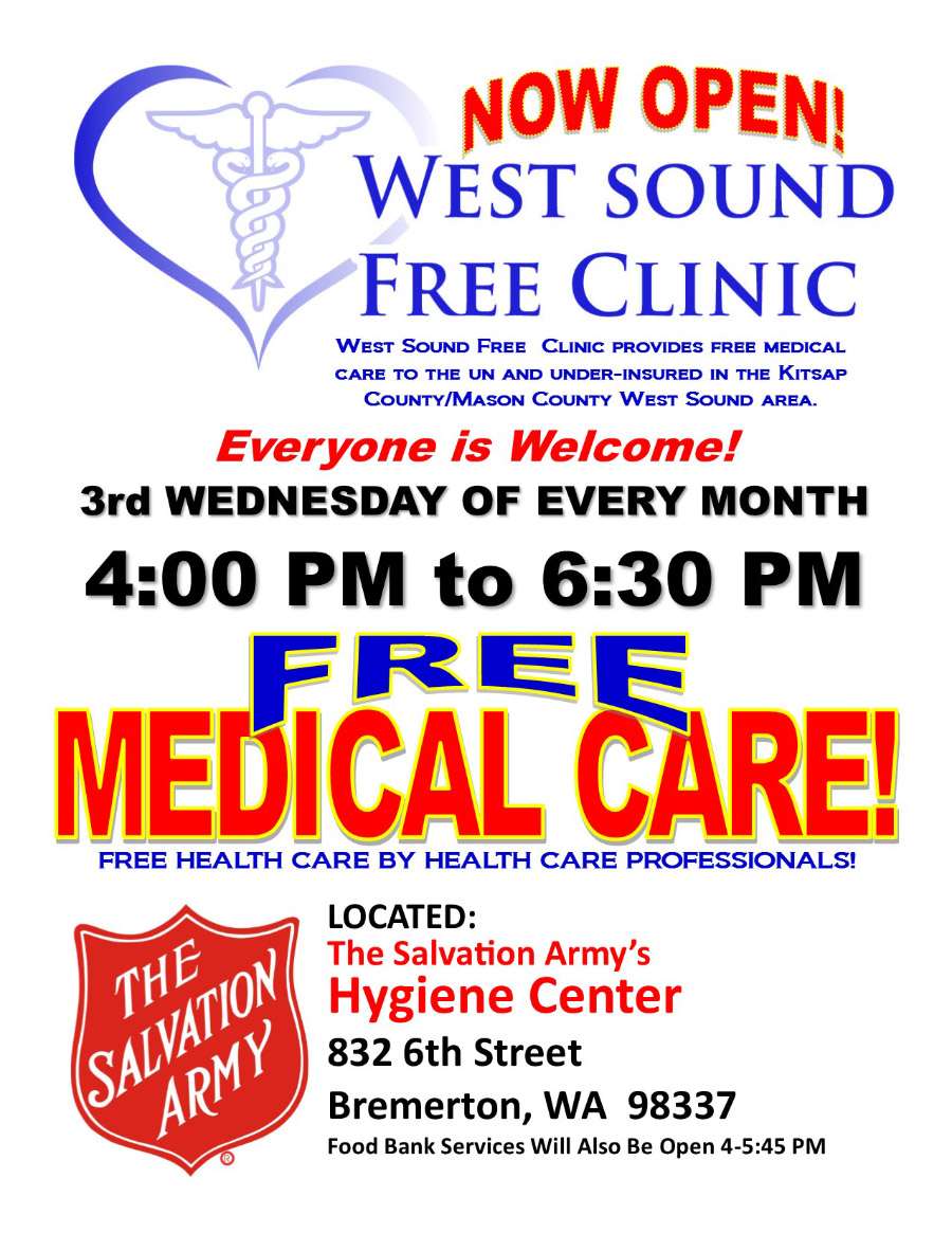 Free Medical Clinic at The Salvation Army in Bremerton, WA - June 2016