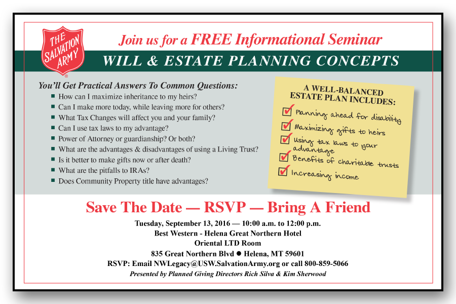 Will & Estate Planning Seminar in Coeur d'Alene, ID - The Salvation Army - June 2016