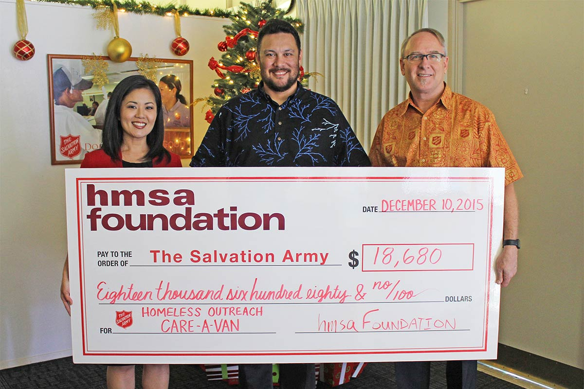 Salvation Army and HMSA grant check presentation