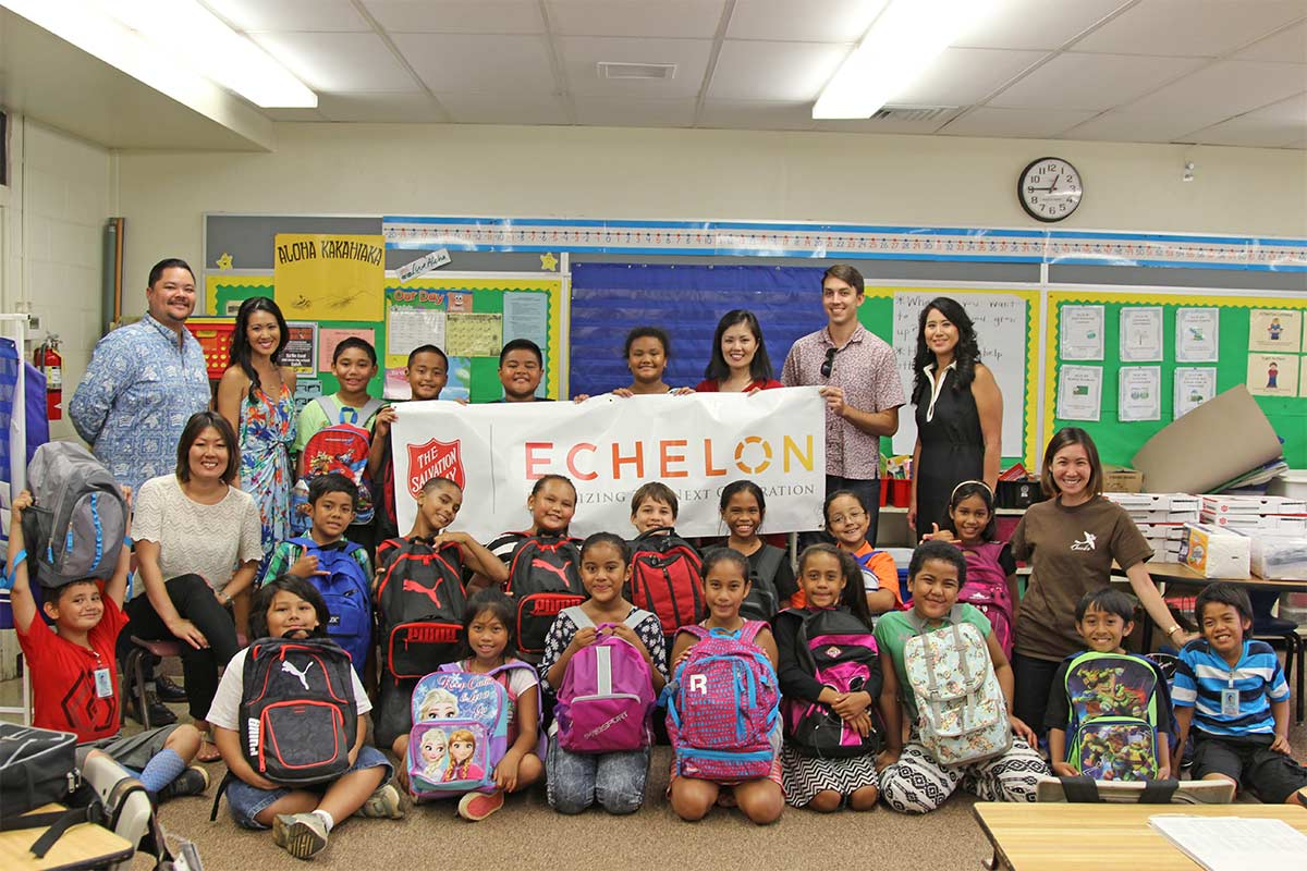 Salvation Army Echelon Members at school drive