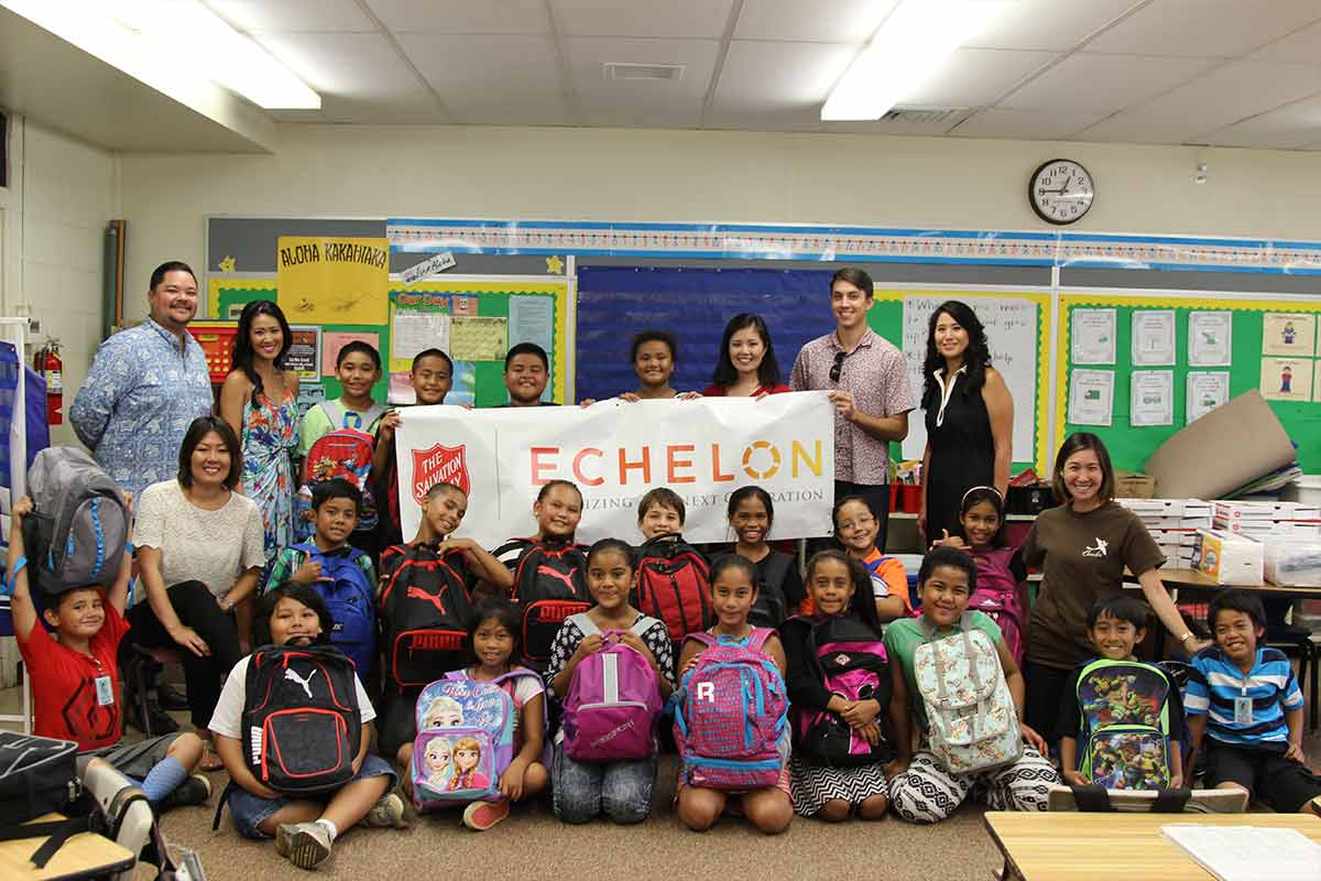 Salvation Army Echelon Members with Aiea Elementary students