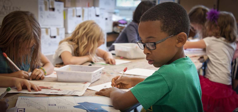 Children work in the classroom