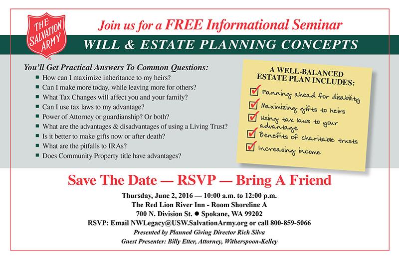 Will & Estate Planning Seminar in Spokane, WA - The Salvation Army - June 2016