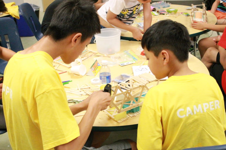students bridge building