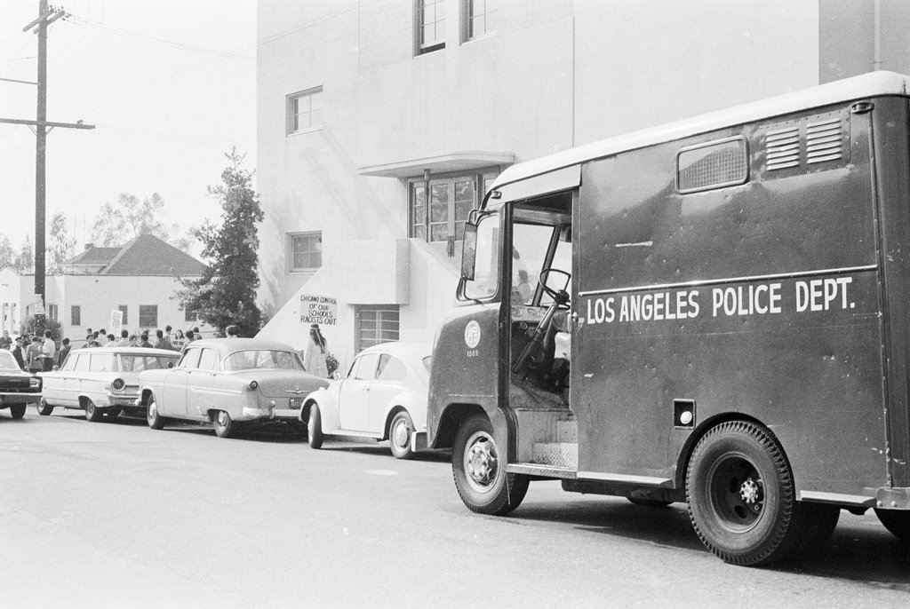 """Police """"Paddy"""" wagon used to transport arrestees."""