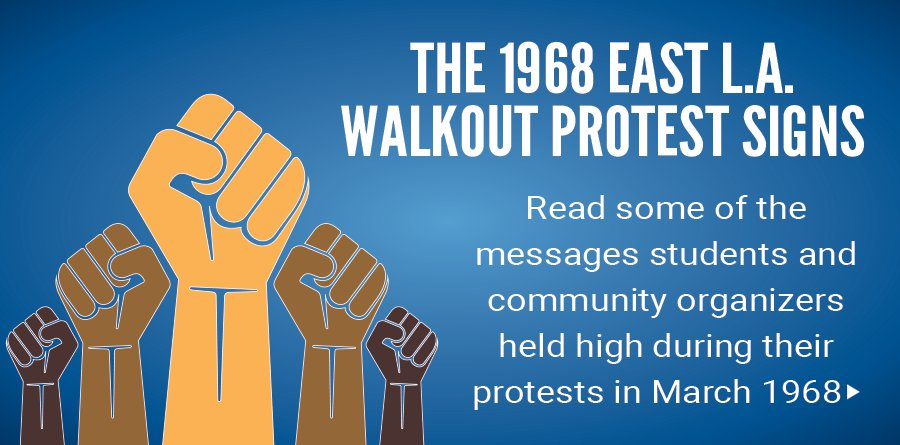 The 1968 East L.A. walkout protest signs