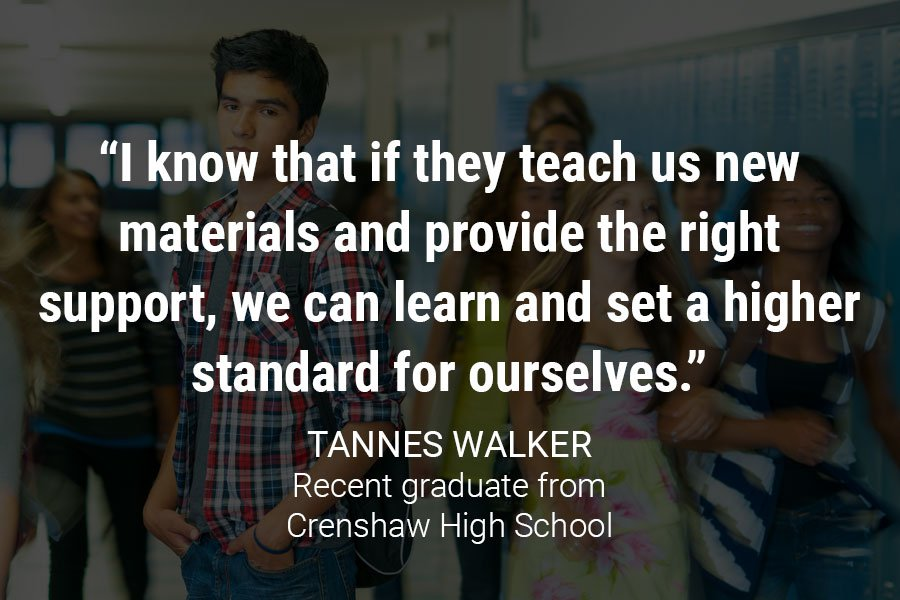 """I know that if they teach us new materials and provide the right support, we can learn and set a higher standard for ourselves."""
