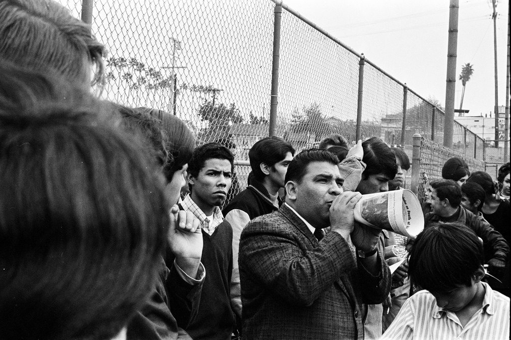 Baptist Minister Quinonez speaking to Roosevelt High students and demonstrators. He, along with Rev. Vahoc Maderoshian, were with the Educational Issues Committee.
