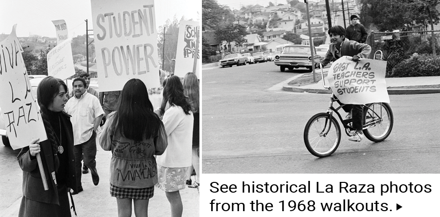See historical La Raza photos from the 1968 walkouts.