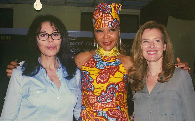 Yamina Benguigui, Christine Schuler Deschryver, Valerie Trierweiler at City of Joy, Bukavu.