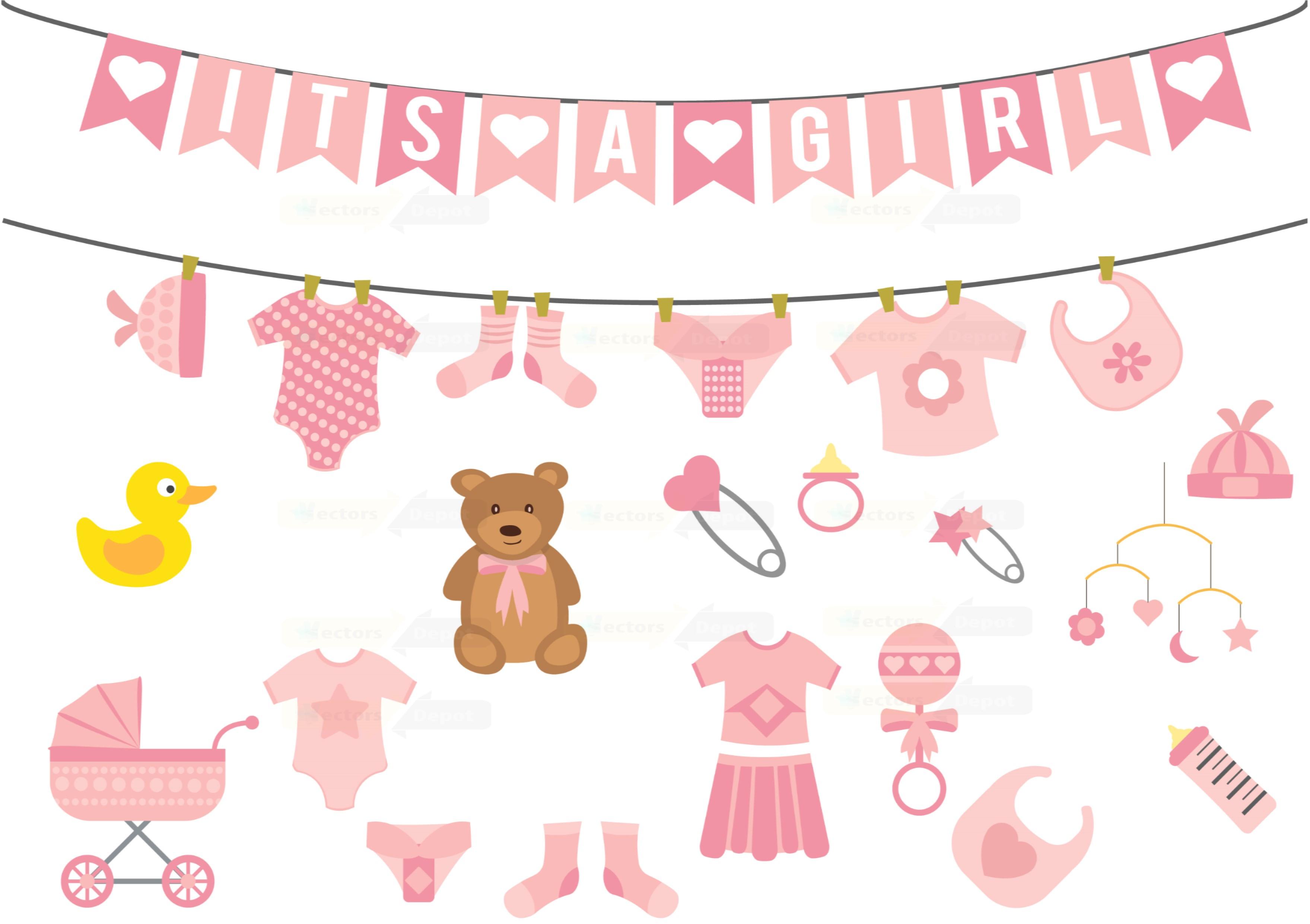 Girl baby shower illustration Vector Pack Vectorsdepot