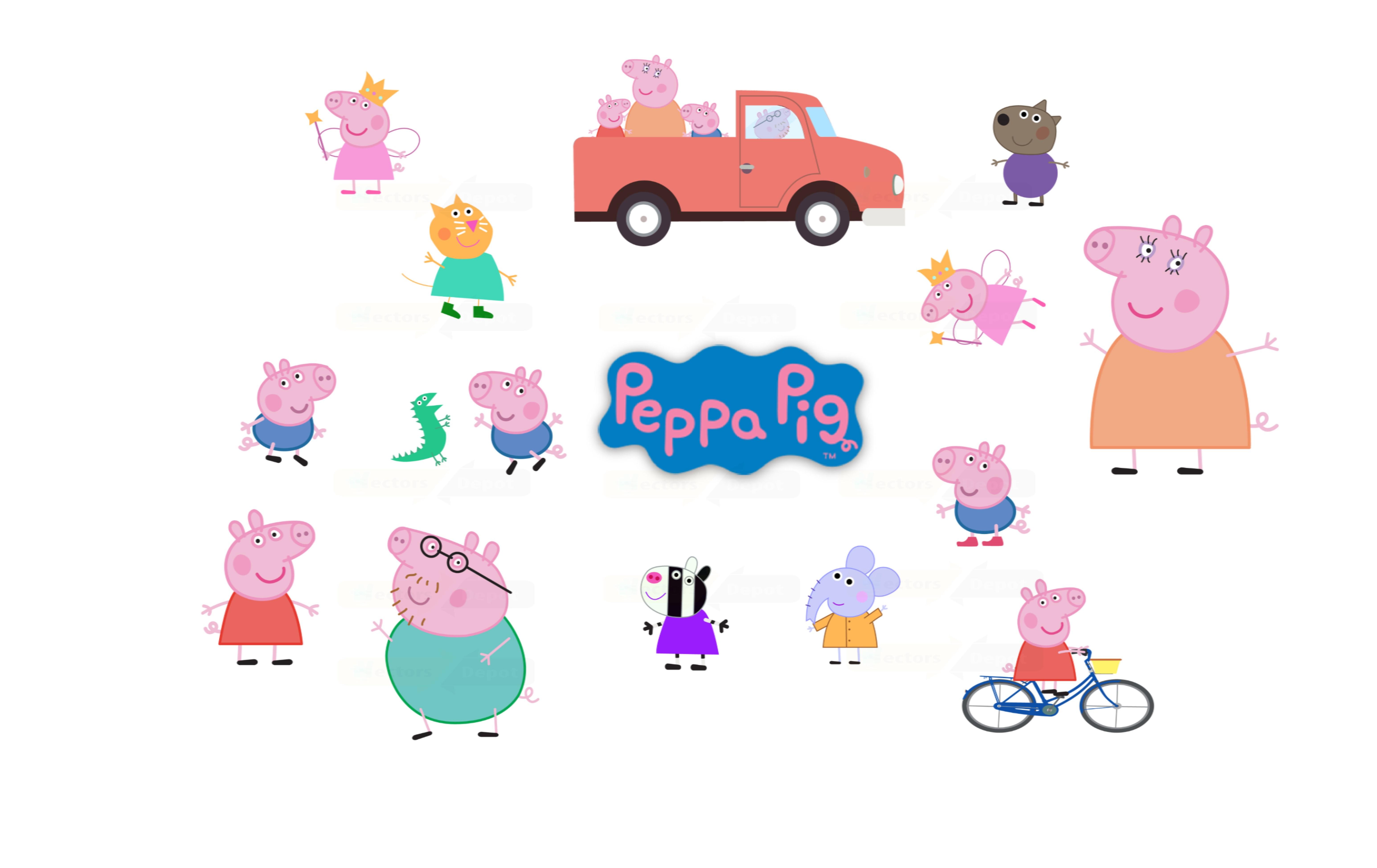 Peppa pig family illustration vector pack vectorsdepot peppa pig family illustration vector pack voltagebd Images