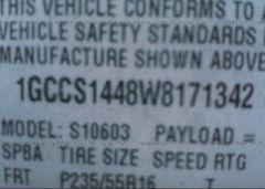 1998 Chevrolet S TRUCK - 1GCCS1448W8171342 engine view
