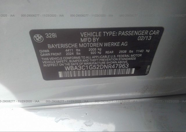 WBA3C1G52DNR47963 2013 BMW 3 SERIES