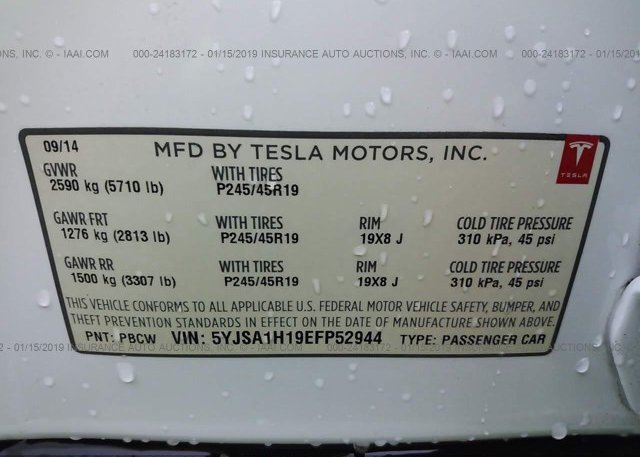 2014 Tesla MODEL S - 5YJSA1H19EFP52944