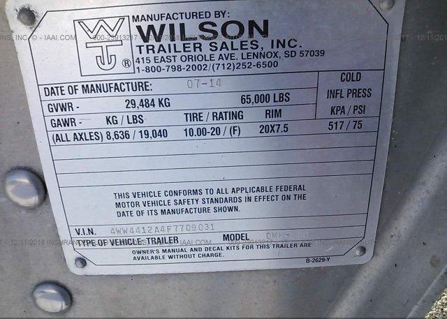 2015 WILSON TRAILER CO GRAIN - 4WW4412A4F7709031