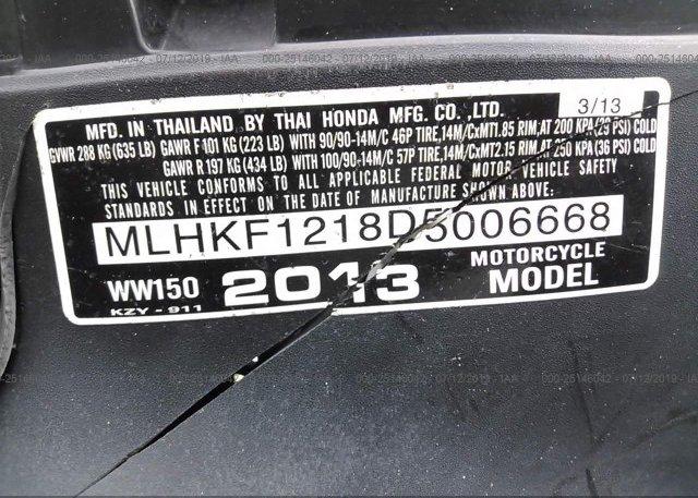 2013 Honda PCX - MLHKF1218D5006668