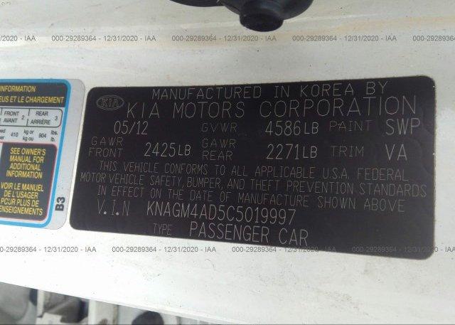 KNAGM4AD5C5019997 2012 KIA OPTIMA