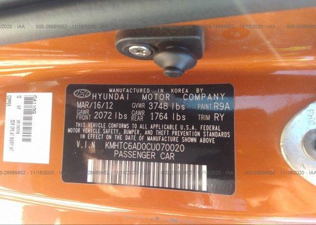 KMHTC6AD0CU070020 2012 HYUNDAI VELOSTER