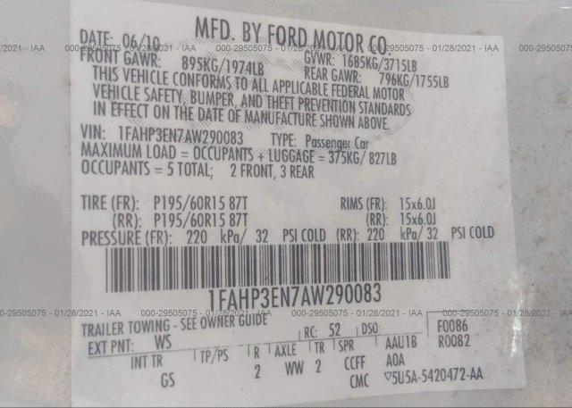 1FAHP3EN7AW290083 2010 FORD FOCUS