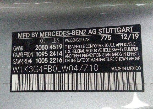 W1K3G4FB0LW047710 2020 MERCEDES-BENZ A-CLASS