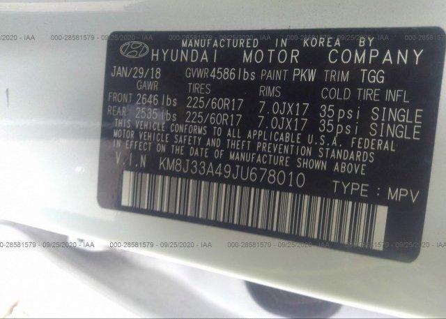 KM8J33A49JU678010 2018 HYUNDAI TUCSON