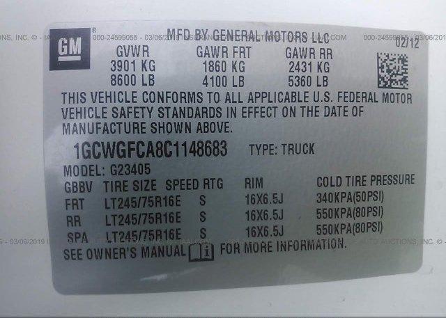 2012 CHEVROLET EXPRESS G2500 - 1GCWGFCA8C1148683