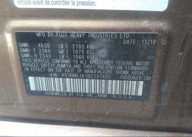 4S3BMDJ61B2231455 2011 Subaru LEGACY