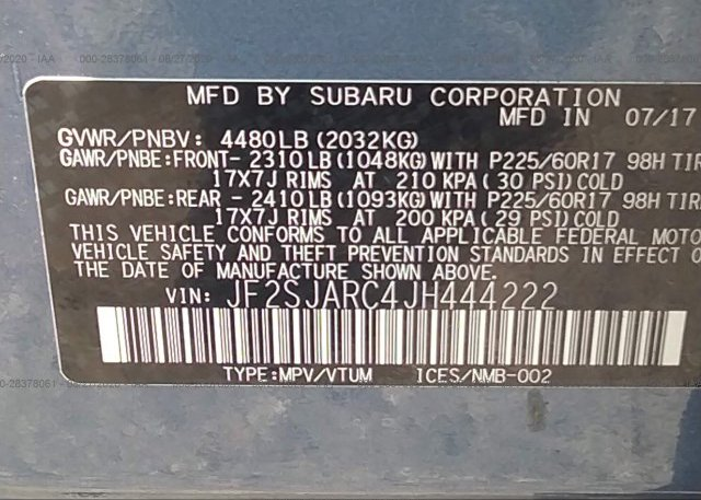 JF2SJARC4JH444222 2018 SUBARU FORESTER