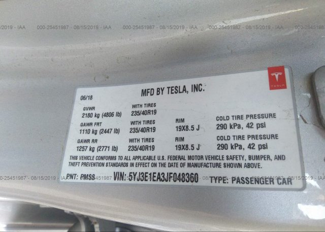 2018 Tesla MODEL 3 - 5YJ3E1EA3JF048360
