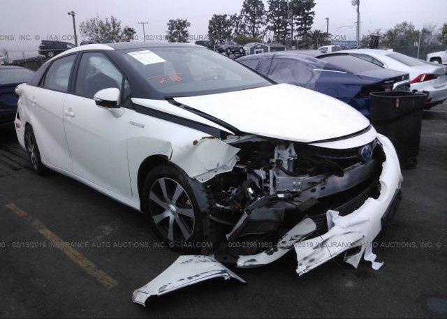 Jtdbvrbd8ja004033 Salvage Certificate White Toyota Mirai At Anaheim