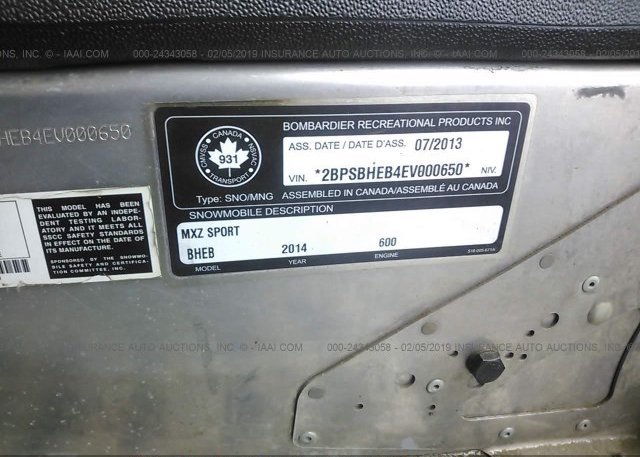 2014 SKI-DOO MX Z 600 - 2BPSBHEB4EV000650