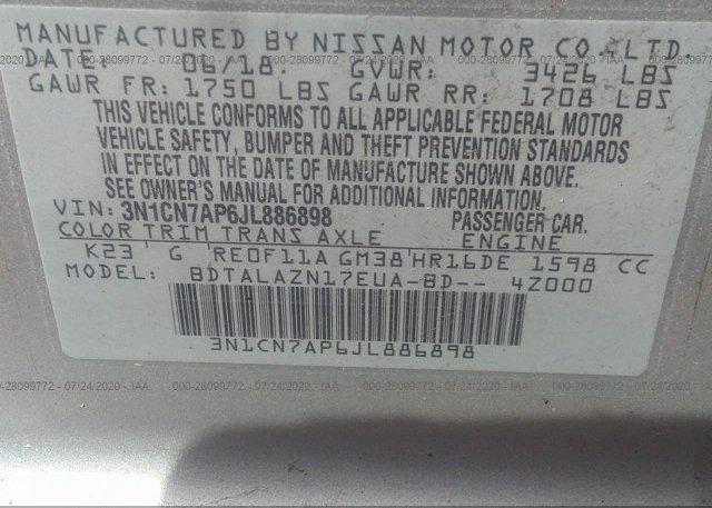 3N1CN7AP6JL886898 2018 Nissan VERSA SEDAN