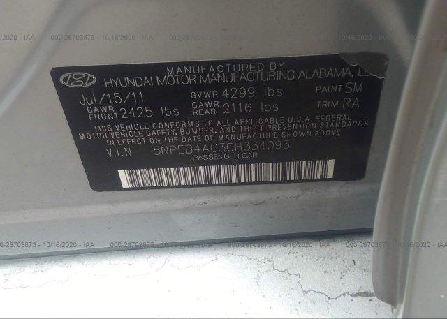 5NPEB4AC3CH334093 2012 HYUNDAI SONATA