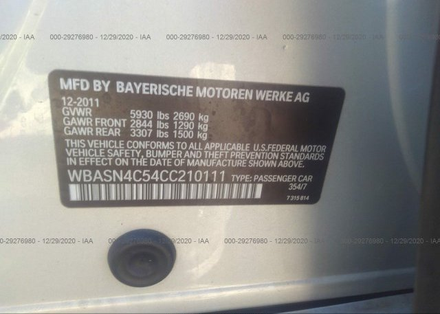 WBASN4C54CC210111 2012 BMW 5 SERIES GRAN TURISMO