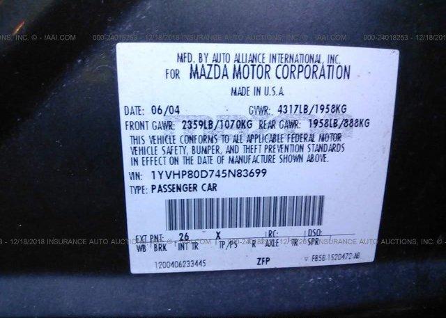 2004 MAZDA 6 - 1YVHP80D745N83699