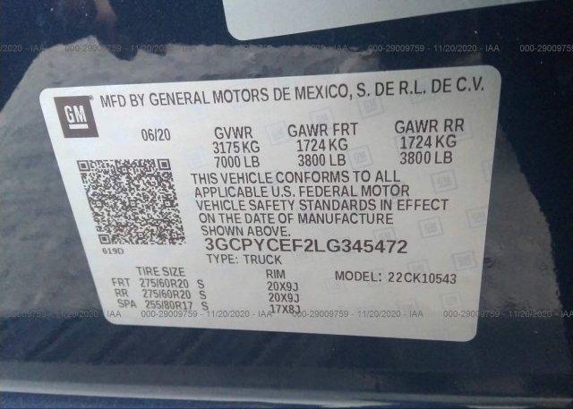 3GCPYCEF2LG345472 2020 CHEVROLET SILVERADO 1500