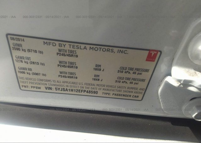 2014 TESLA MODEL S, 5YJSA1H12EFP48590 - 9
