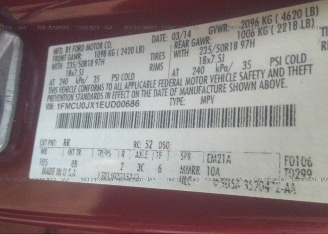1FMCU0JX1EUD00686 2014 FORD ESCAPE