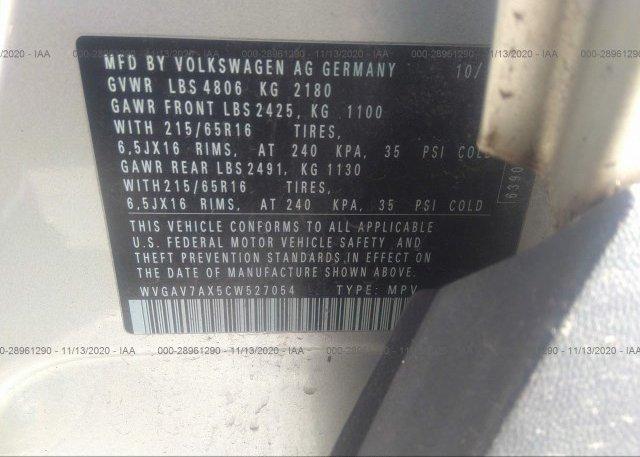WVGAV7AX5CW527054 2012 VOLKSWAGEN TIGUAN