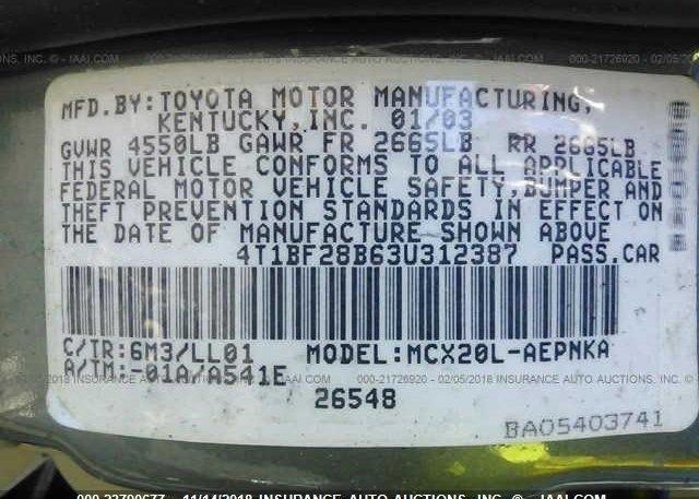 2003 Toyota AVALON - 4T1BF28B63U312387