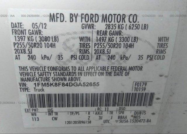 1FM5K8F84DGA52655 2013 FORD EXPLORER