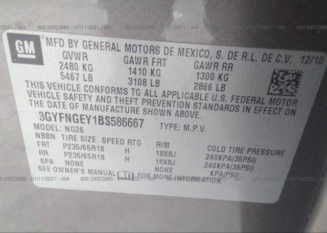3GYFNGEY1BS586667 2011 CADILLAC SRX