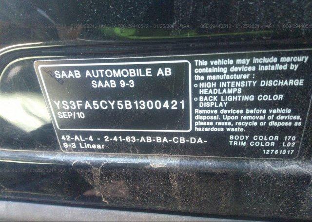 YS3FA5CY5B1300421 2011 SAAB 9-3