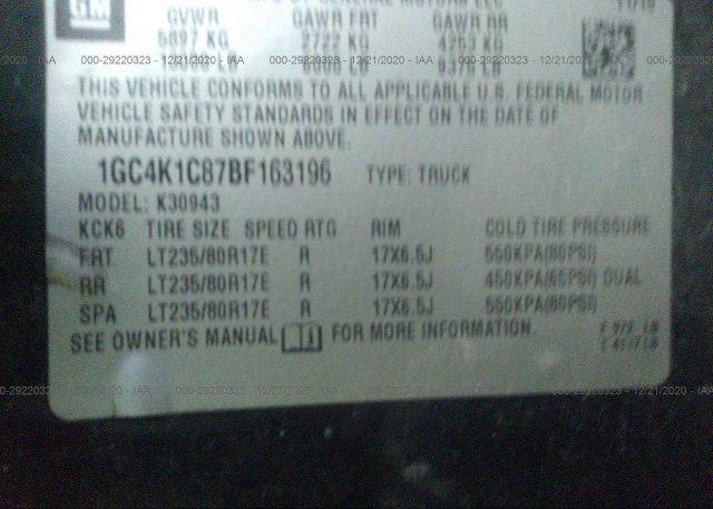 1GC4K1C87BF163196 2011 CHEVROLET SILVERADO 3500HD